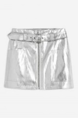TOPSHOP Metallic-Silver PU Mini Skirt