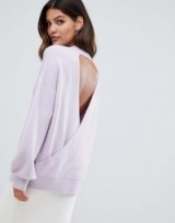 Micha Lounge Relaxed Jumper With Open Back in lilac | glamorous round neck sweater