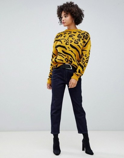 Missguided Intarsia Animal Print Jumper in Yellow - flipped
