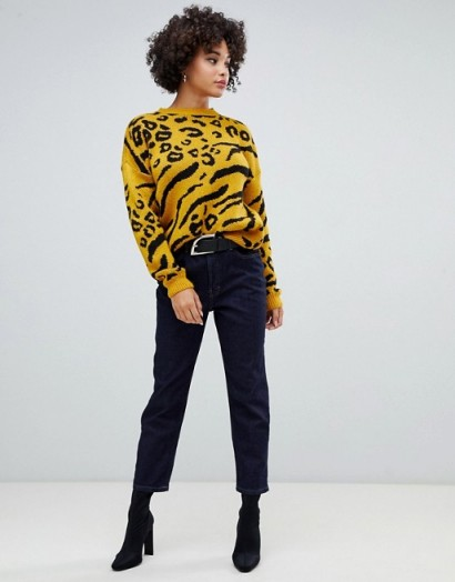 Missguided Intarsia Animal Print Jumper in Yellow