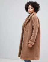 Missguided longline borg coat in brown in caramel / brown faux fur winter coats