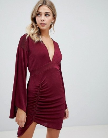 Missguided slinky flared sleeve mini dress in burgundy ~ dark red party dresses - flipped