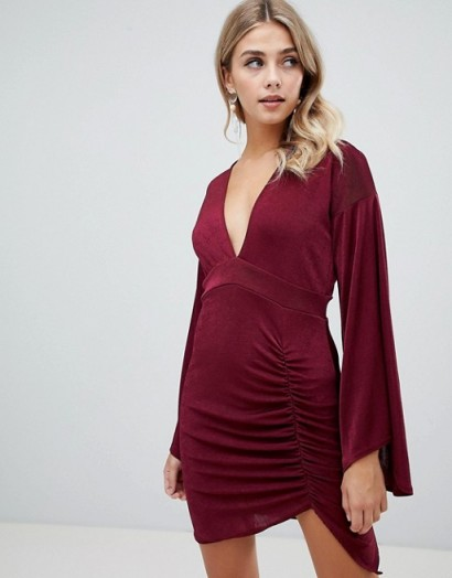 Missguided slinky flared sleeve mini dress in burgundy ~ dark red party dresses