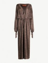 MISSONI Drawstring-tie metallic-knit maxi dress in gold-bronze. LUXE KNITWEAR