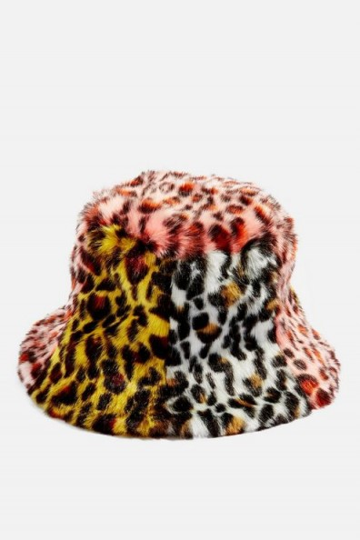 TOPSHOP Mixed Animal Print Bucket Hat. MULTICOLOURED FUR HATS