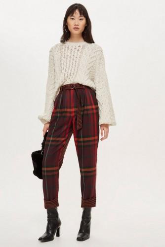 TOPSHOP Check Peg Trousers / bold tartan pants