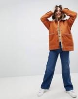 Monki Borg Denim Trucker Jacket In Brown | casual autumn coat