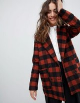 Monki Checked Double Breasted Jacket Brown / check print coats