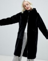Monki faux fur zip hooded coat in black / luxe style funnel neck coat