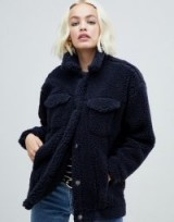 Monki teddy trucker jacket in navy