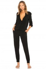 MONROW CREPE LONG SLEEVE JUMPSUIT in Black | front buttoned jumpsuits