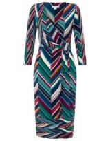 Monsoon ARABELLA PRINT DRESS NAVY / chevron print / wrap style
