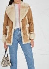 MOTHER The Patch Pocket Trapper faux-suede coat in brown ~ casual luxe winter jacket