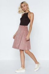 Nasty Gal Move Over Babe Cord Skirt in Pink – a-line wrap style