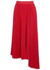 MSGM Red pleated asymmetric midi skirt