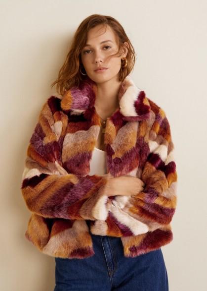 Mango Multicolor faux fur coat in maroon – 70s vintage chevron design – classic seventies fashion colours