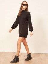Reformation Nadine Dress in Black | high neck sweater dress