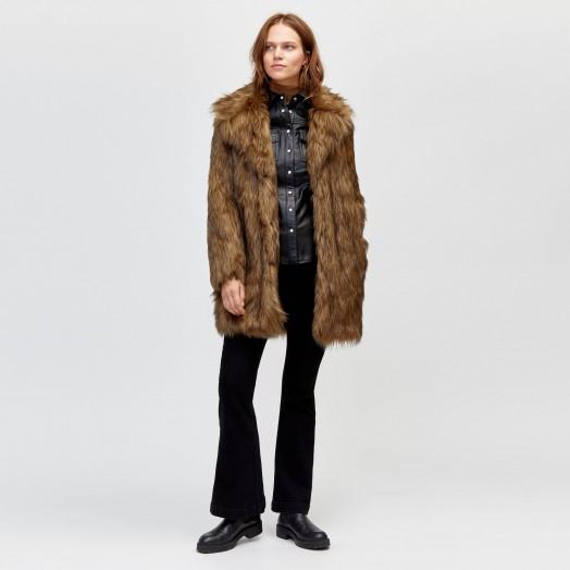 WAREHOUSE NATURAL FAUX FUR COAT in Beige / brown tone winter coats