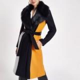 RIVER ISLAND Navy block print faux fur trim robe coat – glamorous winter coats