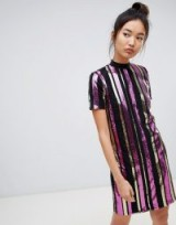 Noisy May sequin stripe high neck dress. METALLIC STRIPES