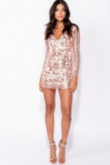 PARISIAN NUDE FLORAL SEQUIN PLUNGE NECK LONG SLEEVE BODYCON MINI DRESS | plunging party dresses