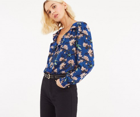 OASIS HERITAGE BIRD BLOUSE in Blue / pretty ruffled neck top