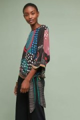 Bl-nk Octavia Printed Blouse ~ bohemian side tie top