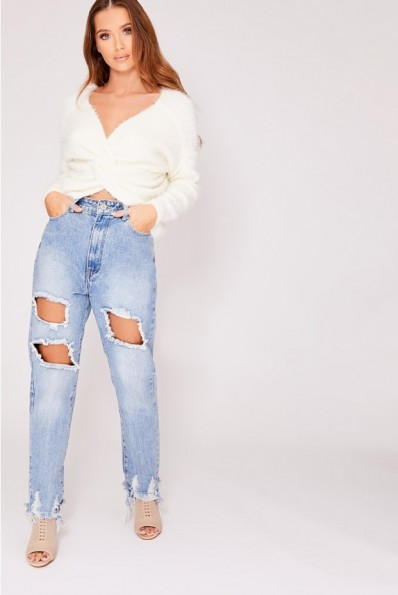 IN THE STYLE ODESSA WHITE SUPER FLUFFY TWIST BACK JUMPER ~ luxe style knitwear