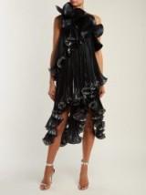 GIVENCHY One-shoulder black ruffled Lurex silk-blend dress ~ glamorous metallic ruffles