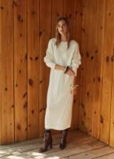 MANGO Open-work long dress in off white ~ chic sweater dress