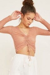Out From Under Alexa Stripe Ruched Long-Sleeve Top in Pink Multi | perfect fitted crop