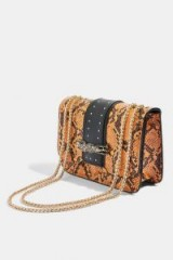 TOPSHOP Panther Snake Print Piece Cross Body Bag in Orange ~ reptile and animal prints