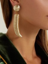REBECCA DE RAVENEL Pasha gold tusk-shaped cord earrings ~ luxe statement accessory