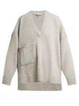 TIBI Light-Grey Patch pocket cashmere sweater ~ oversized luxe V-neck