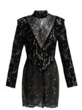 CHRISTOPHER KANE Black Patchwork flocked velvet lace mini dress ~ romantic lbd ~ shiny PVC panel