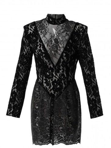 CHRISTOPHER KANE Black Patchwork flocked velvet lace mini dress ~ romantic lbd ~ shiny PVC panel - flipped