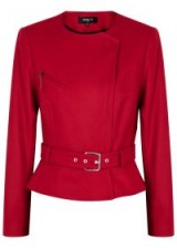 PAULE KA Red berry belted wool jacket ~ chic tailored jackets