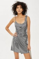 TOPSHOP PETITE Silver Sequin Mini Dress