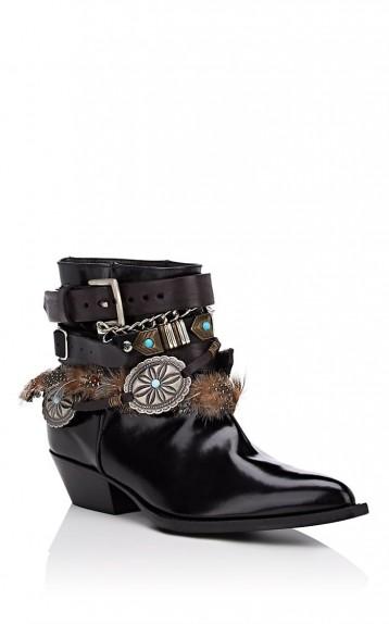 PHILOSOPHY DI LORENZO SERAFINI Black Leather Buckle Ankle Boots / embellished Cuban heels