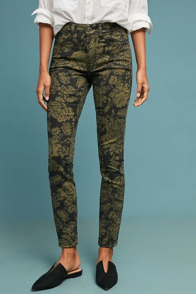 Pilcro Floral Print High-Rise Skinny Ankle Jeans Green Motif