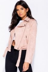 PARISIAN PINK FAUX SUEDE SELF BELT BIKER JACKET | casual autumn style