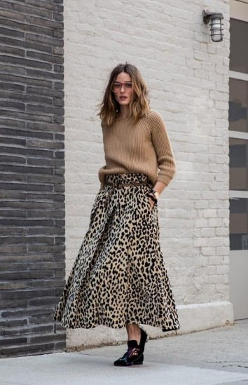 Olivia Palermo in a camel crew neck sweater and leopard print ankle grazing skirt ~ celebrity Autumn style