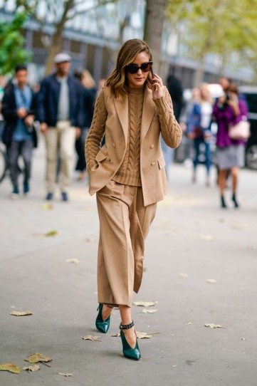 Olivia in camel colours and green heels