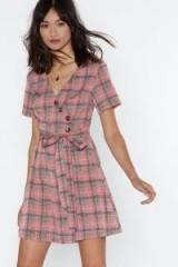 NASTY GAL Pink Plaid Luck Wrap Dress