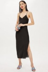 Topshop Plain Black Satin Slip Dress | thin straps | side slit