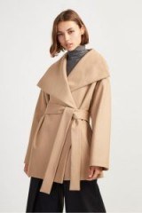 FRENCH CONNECTION PLATFORM FELT FUNNEL NECK COAT IN camel – chic wrap style – autumn coats