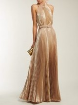 LUISA BECCARIA Rose-Gold Pleated halterneck gown ~ long metallic event dress