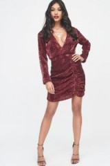 LAVISH ALICE pleated sequin mini dress in burgundy – dark red sequinned partywear – ruched design