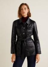 Mango Pockets black leather belted jacket – 70s vintage style fashion