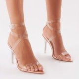PUBLIC DESIRE POW STRAPPY PERSPEX HEELS IN ROSE GOLD ~ clear barely there sandals